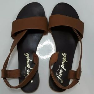 Free People Brown Leather Thong Sandals Size 38/8